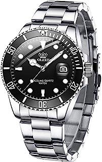 ساعت مچی مردانه OLEVS ، ساعت مچی مردانه ضد آب و ضد ضربه ، ساعت مچی مردانه ، ساعت مچی مردانه ، ساعت / ساعت مچی کوارتز با لباس کلاسیک ، Relojes de Hombr (ساعت شماره گیری سبز / سیاه / آبی)