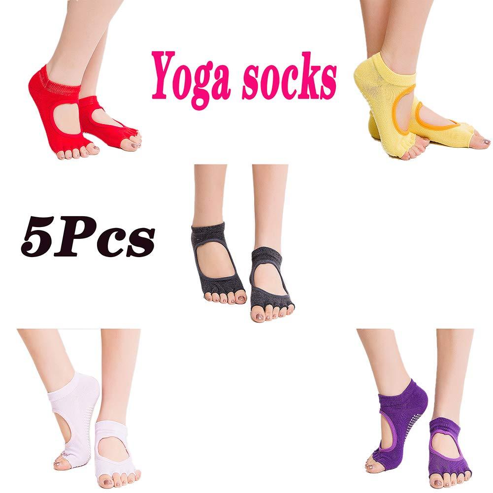 Loykind Yoga para Mujer Calcetines Antideslizantes De Split Toe Calcetines De Mujer Yoga Ballet Calcetines Fascitis Plantar Medias De Compresión Mangas Pack De 5: Amazon.es: Hogar