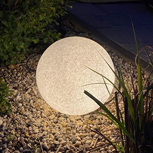 LED Stein Garten Außenleuchte Granit-Optik Ø35cm IP65 inkl. LED-Lampe mit Sensor warmweiß 5m Anschlusskabel