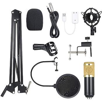 Noprm BM800 Micrófono de Condensador Iluminado Pro Audio Studio Grabación y Brocasting Micrófono Ajustable Tijera Brazo Filtro Pop Negro + Dorado