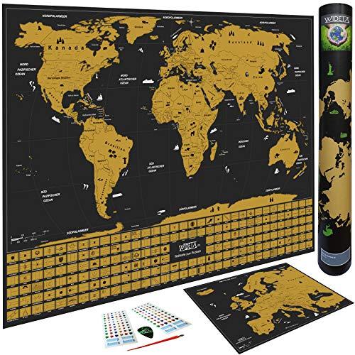WIDETA Weltkarte zum Rubbeln in deutsch, XXL (82 x 60 cm) mit Länderflaggen/Bonus Europakarte und Zubehör