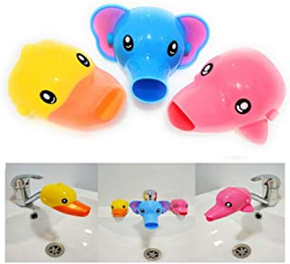 AUMA Set of 3 Cute Cartoon Faucet Extender, Bath Spout Cover for Toddler, Baby, Children Safe and Fun Washing Solution, Ki...