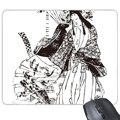 DIYthinker Japan Traditionelle Kultur schwarzen Kimono Frau Sakura Zeichnung Skizze-Kunst-japanische Art Illustration Rectangle Griffige Gummi Mousepad Spiel-Mausunterlage