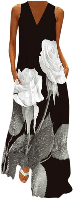Goonidy Sleeveless Elegant Dress 2021 Casual Breathable Long Dresses Summer Beach Woman Girl Rose Print Maxi Dress Women