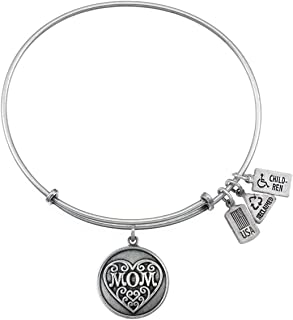 Wind & Fire Mom Charm Silver Finish Bangle Bracelet