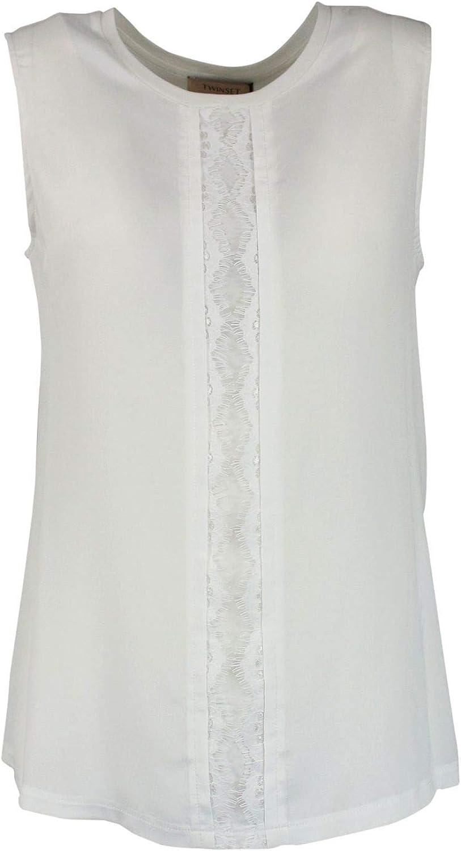 TwinSet Women's 191TP226100827 White Cotton Top