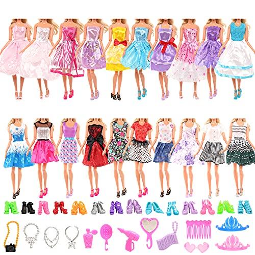 Miunana 30 ubrań i akcesoriów do lalek, 10 sukienek imprezowych + 10 butów + 10 akcesoriów dla lalek dziewczynek 30 cm