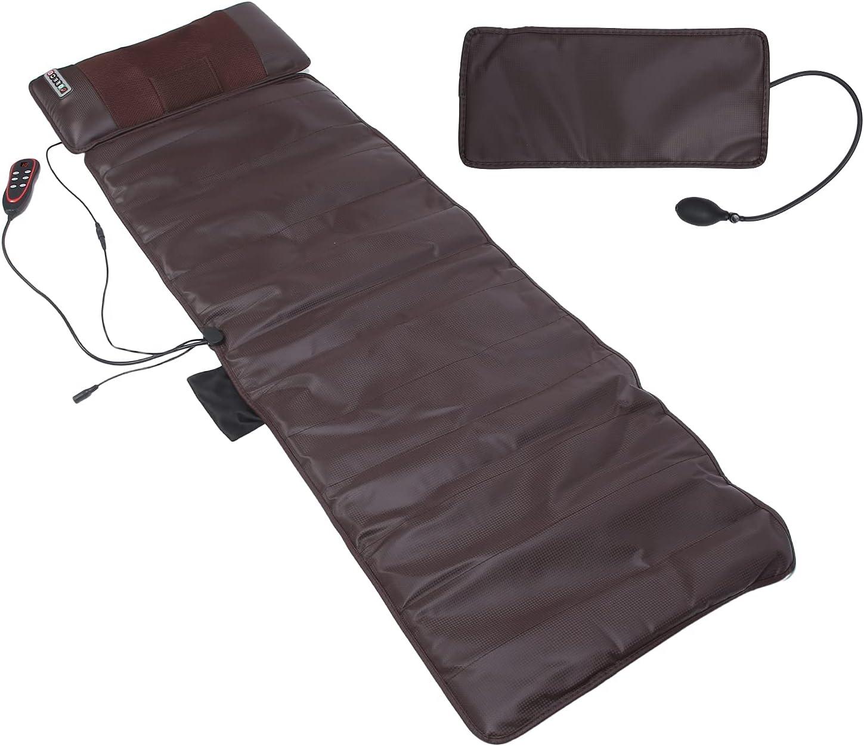 Estera de masaje de cuerpo completo con calor, Almohadilla de masaje Shiatsu Cojín de colchón de masaje para amasar con 10 motores vibratorios para cuello/hombros/espalda/piernas, Alivio del dolor(EU)
