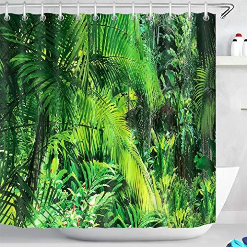 LB Duschvorhang Urwald 180x180cm Grüne Palmen im Tropenwald Bad Vorhang mit Haken Polyester Wasserdicht Antischimmel Badezimmer Vorhänge