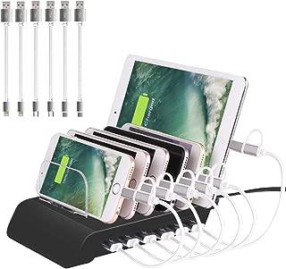 6 Port USB Charging Station Universal Desktop Tablet & Smartphone Multi-Device Hub Charging Dock for iPhone, iPad, Galaxy, Tablets (Black)