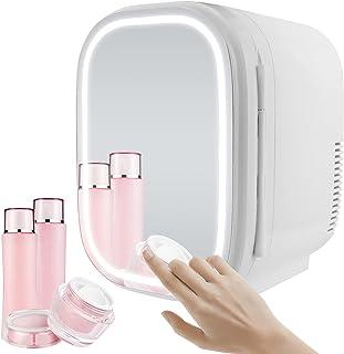 Novhome Mini-Kühlschrank, 6 l, Hautpflege, AC/DC, Schönheitsspiegel, Kühlschrank für Schlafzimmer, 48 W, mit Lichtkühler und Wärmer für Make-up, Auto