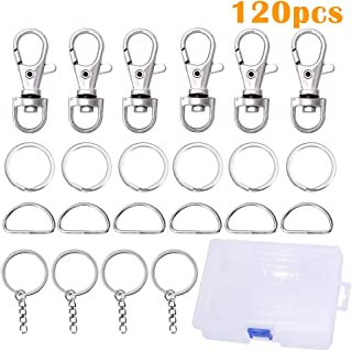 Metal Swivel Snap Hook,with Keychain Rings and Open Jump Ring Metal Split Key Ring Flat for Home Car Quality Keyring Ring Attachment- Nickel Plated