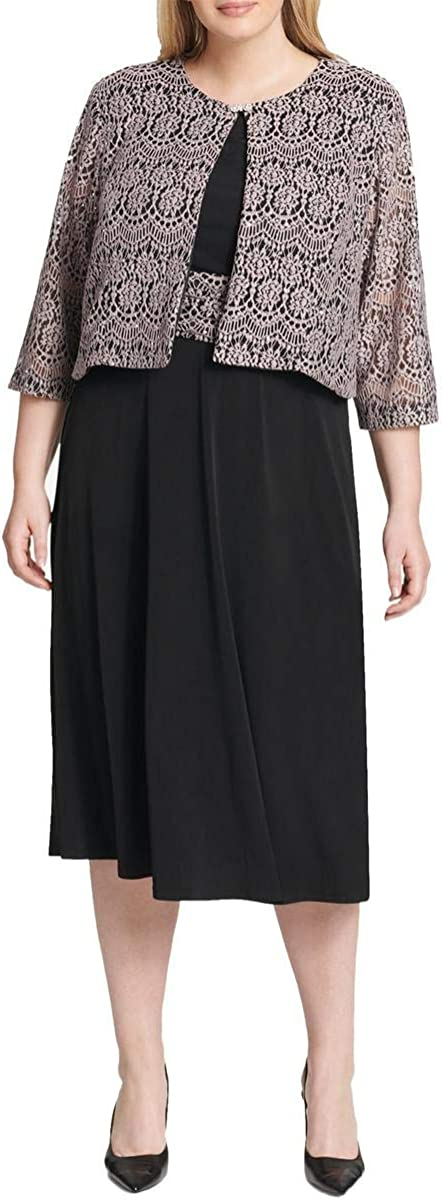 Jessica Howard Plus Size Womens Inset Waist Swing Jacket Dress