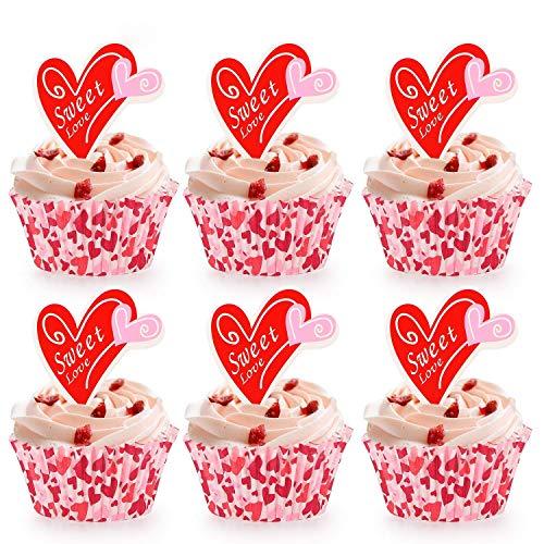 Howaf 100 x Cupcake Wrapper Muffins papierförmchen und Herz Kuchen Cupcake Toppers Kuchendekorationen essbare für Valentinstag Hochzeit Geburtstag Party