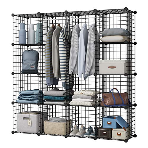 KOUSI Portable Wardrobe Closets 14'x18' Depth Cube Storage, Bedroom Armoire, Storage Organizer with Doors, 10 Cubes + 2 Hangers