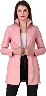 Leather Retail® Pink colour Faux Leather Long Jacket For Woman's