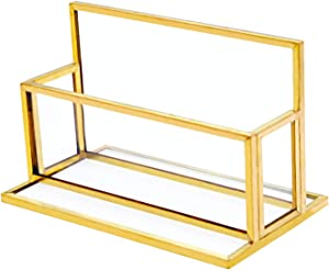 VoiceFly Glass Gold Business Card Holder Desk, Vintage Name Card Display Gold Metal Frame Business Card Stand Office Countertop Organizer, Golden