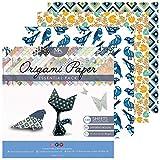 Origami Papier – 120 Feuilles au Format 15x15 cm – 40 Motifs Différents : Chats, Cupcakes, Aztèque – Créez de Magnifiques Origamis : Fleurs, Grues, Hiboux, Animaux - MozArt Supplies
