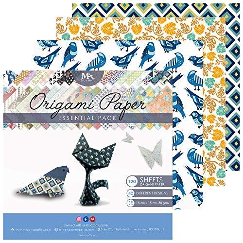 MozArt Supplies – Origami Papier Set – 120 Blätter – Traditionelles japanisches Faltblatt mit 40 Mustern, Blumen, Tieren, Azteken, geometrischen – Basteln Sie Blumen, Kraniche, Eulen, Drache