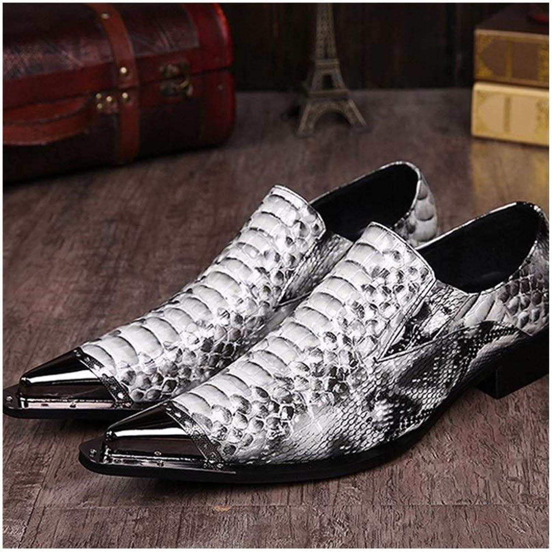 Rui Landed Oxford Für Mann Formelle Schuhe Slip On Style Hochwertiges Echtes Leder Zarte Retro Geschnitzte Metallzehe Nachtclub (Farbe   Weiß, Größe   42 EU)