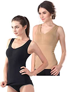 Women's Cami Shaper Tank Top with Built in Bra Removable 2 Packs