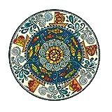 Nicole Knupfer Retro Runder Baumwollteppich böhmische Handwebteppich Abwaschbar für Wohnzimmer Schlafzimmerteppich Rund Mandala Teppich (5,60 * 60cm)