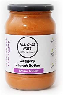 All Over Nuts Jaggery Peanut Butter, 500 gm Crunchy (Gluten Free, Vegan)