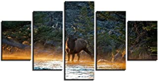 Lijome Canvas Art Home Wall Art Decor 5 Pieces Animal Deer In The Forest Stream Moose Sunset Landscape Prints Prints