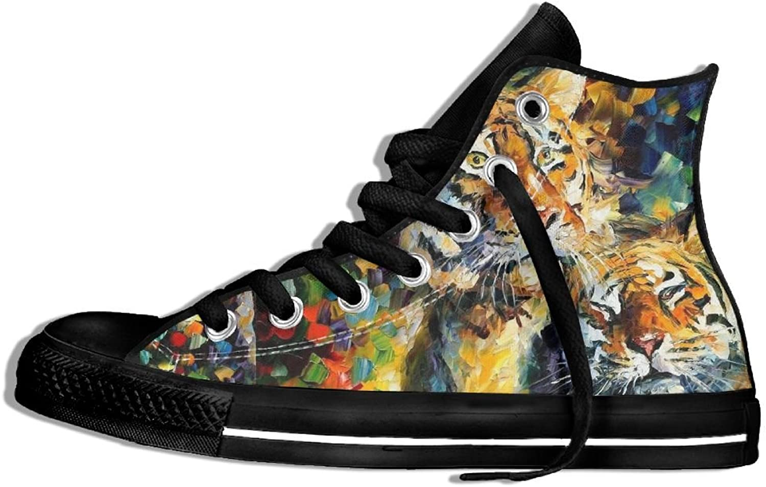 Unisex High Top Canvas Sneakers Tiger Oil Painting Round Toe Non-slip Walking Trainers shoes