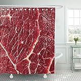 Emvency Duschvorhang, Stoff, mit Haken, rotes Rindfleisch, rohes Essen, Steak, 152,4 x 183,9 cm, wasserdicht, dekoratives Badezimmer