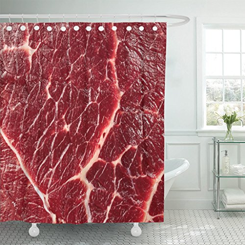 """Emvency Fabric Shower Curtain Curtains with Hooks Red Beef of Meat Raw Food Meal Steak 60""""X72"""" Waterproof Decorative Bathroom"""