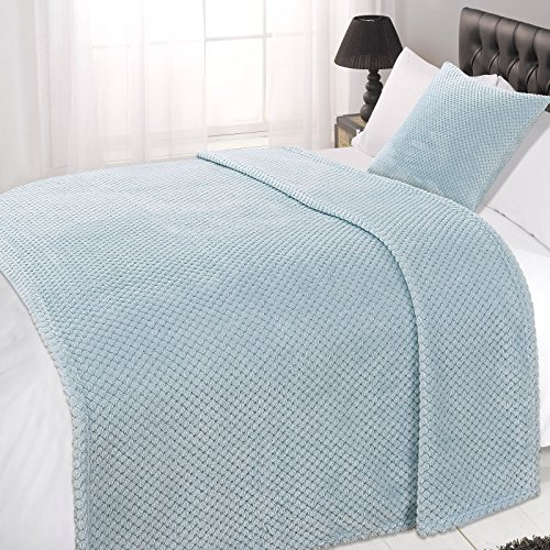 Dreamscene Waffle Soft Mink Warm Throw Over Sofa Bed Blanket 150 x 200 Duck Egg Blue, Polyester, Double