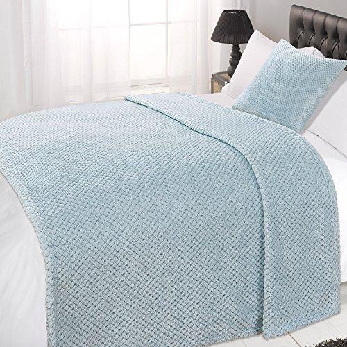 Dreamscene Waffle Soft Mink Warm Throw Over Sofa Bed Blanket 125 x 150 Duck Egg Blue, Polyester, Single