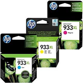 HP 3 Pack Combo Cartucho 933XL - 8.5ml - Alto Rendimiento - Colores Magenta Cyan Amarrillo - CN056AL CN055AL CN054AL Compa...