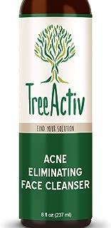TreeActiv Acne Eliminating Face Cleanser, Natural Facial Treatment Cleansing Skin Wash, Castile Soap, Sulfur, Charcoal, Vitamin C, Peppermint, Men Women Teens, Sensitive, Unscented (8oz)