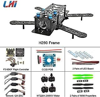 LHI 250mm Pro Pure Carbon Fiber Quadcopter Frame Kit + CC3D Flight Controller + MT2204 2300KV Motor + Simonk 12A ESC + 6030 CF Propeller Prop
