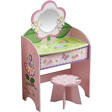 Tabella di Trucco con Sgabello Rosa Specchio e Cassetto per Gli Tavolino da Toeletta per Bambina e Ragazza per Bambine con Luci e Musica Toeletta In Stile Principessa