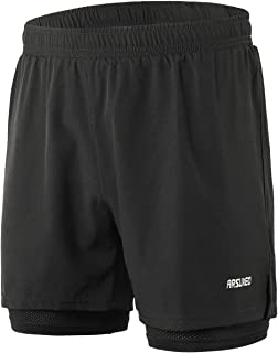 ARSUXEO Men's Workout Training 2 in 1 Running Shorts Reflective B192