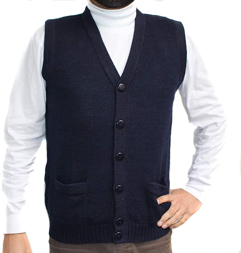 Vest alpaca and blend V neck buttons JERSEY made in PERU buttons and Pockets NAVY BLUE