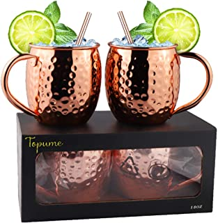 Moscow Mule Copper Mugs-100% Handcrafted- - Food Safe Pure Solid Copper Mugs- Use as Copper Tumbler, Mint Julep Cup, Coffee Mug, Ice Cream Cup, Fries Bowl, Copper Cup for Cold Beverage-Set of 2