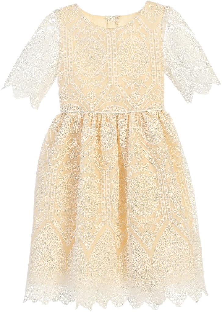 Sweet Kids Vintage Embroidered Dress for Communion or Flower Girl (7-12Y)