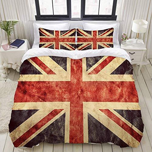 Funda nórdica, el Reino Unido o la Bandera de Union Jack Grunge, Juego de Ropa de Cama Juegos de Funda de edredón de poliéster de Lujo Ultra cómodo y Ligero