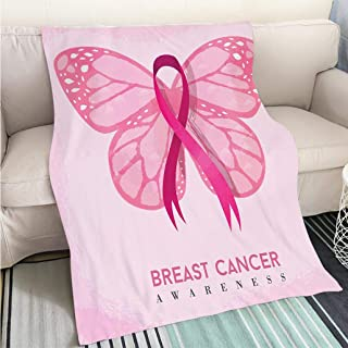 BEICICI Custom homelife Abstract Home Decor Printing Blanket Pink Butterfly with Ribbon for Breast Cancer Art Blanket as Bedspread Gold White Bed or Couch