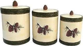 Ceramic Pine Cone Canister (Set of 3) Multi Color