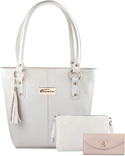 Shining Star Women's Handbag with Sling Bag with Clutch (Set of 3) (ST-008CR CL_Cream)