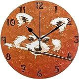 Reloj de Pared Arte Pintura Naranja Oso Panda Reloj de Pared Redondo Placa Circular Relojes silenciosos sin tictac para Cocina Oficina en casa Decoración Escolar Niños Niños Niñas