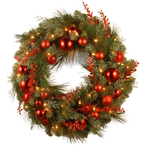 National Tree 24 Inch Decorative Collection Christmas Red Mixed Wreath with 50 Battery Operated Soft White LED Lights with Timer (DC13-159-24WB-1)