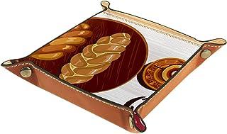 FCZ Shabbat Shalom Challah Plateau de rangement en cuir pour bijoux, clés, portefeuille, pièces de monnaie, bonbons 20,3 x...