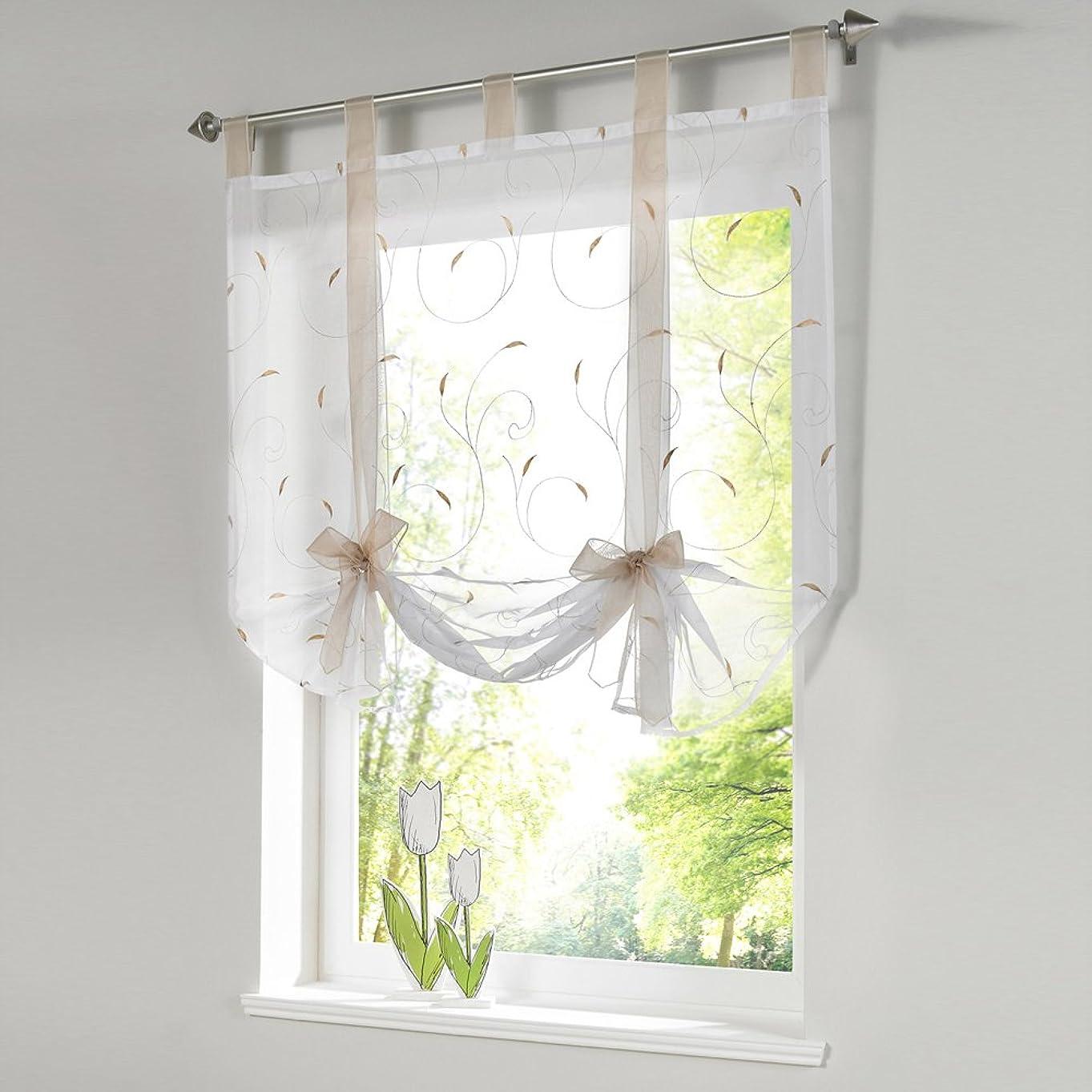 ビバホールドオールケージQIN カフェカーテン 小窓用 レースカーテン ローマレースカーテン ポリエステル製 良い透け感 自然の風を通し 明るく 薄いカーテン 気持ちいい 安らぎを感じる風合い 新生活応援 取り外し簡単 5色5サイズから選べる 60x140cm 土色