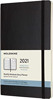 Moleskine 2021 Monthly Planner, 12m, Large, Black, Soft Cover (5 X 8.25)
